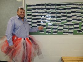 On Wednesday Principal Allan Menduk fulfilled the challenge and was wearing a tutu and tiara because students met their Terry Fox Run goals.