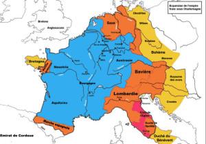 青色地域が、カール即位時[DC742年]のフランク王国