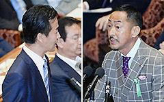 7月13日衆院平和安全特委で、見解を述べる村田公述人(右)と、質問する岡本議員(左)