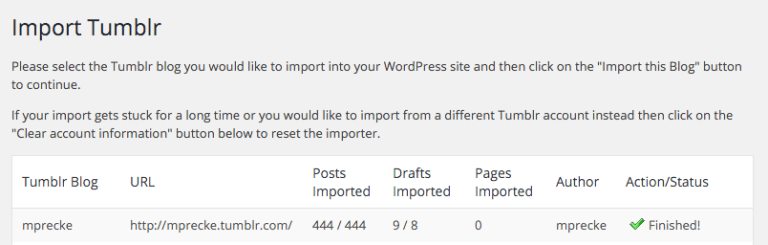 tumblr importer - import tumblr posts to wordpress