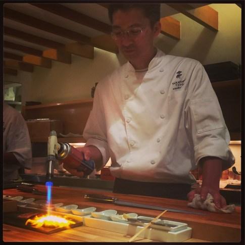 Sushi Ran - omakase - Takatoshi Toshi preparing tokachi wagyu