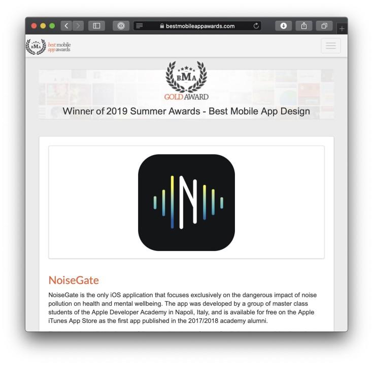 NoiseGate - Best Mobile App Design Gold Award