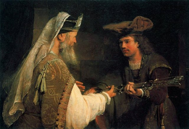 Arent de Gelder_Ahimelech giving Goliath's sword to David