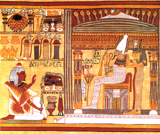 Papyrus of Ani - Plate 4. The Osiris Scribe Ani, Osiris, Isis & Nephthys