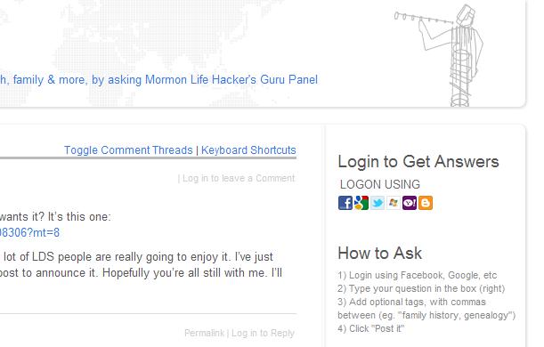 How to login to ask.MormonLifehacker.com