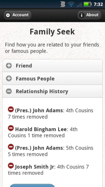 Family Seek mobile relationship history
