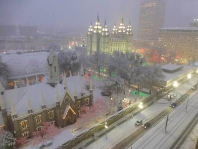 #LIGHTtheWORLD Temple Square Christmas Lights Snow