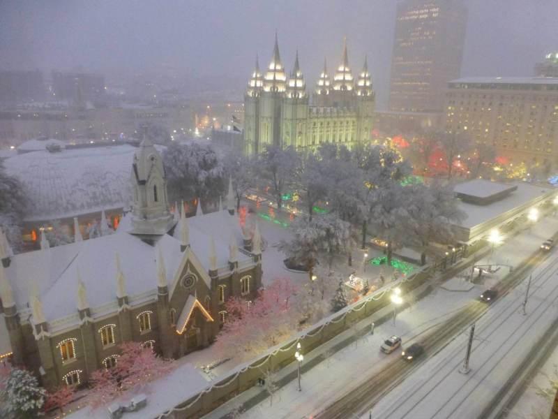 #LIGHTtheWORLD Temple Square Christmas Lights Snow