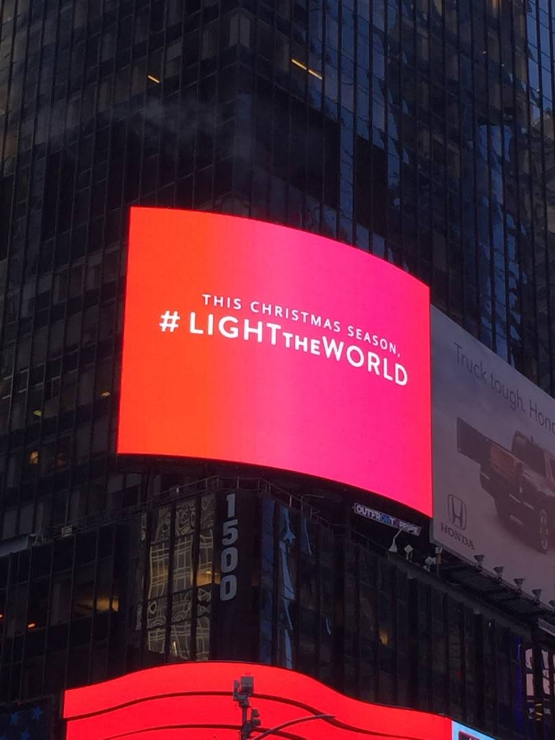 #LIGHTtheWORLD billboards Times Square New York Christmas Mormon LDS