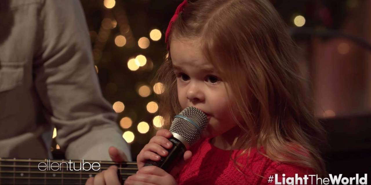 """Ellen Degeneres shares Claire Ryann Crosby's #LightTheWorld video (""""Let There Be Peace On Earth"""")"""
