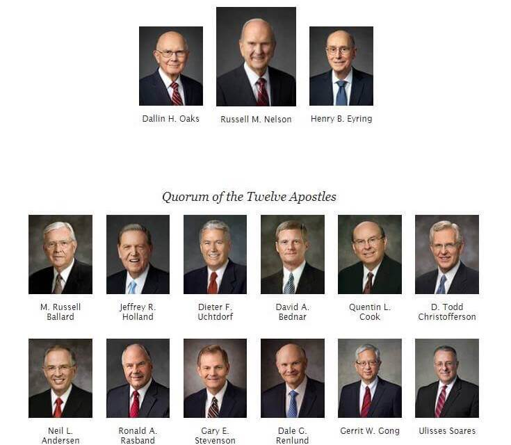 New chart showing First Presidency and Quorum of the 12