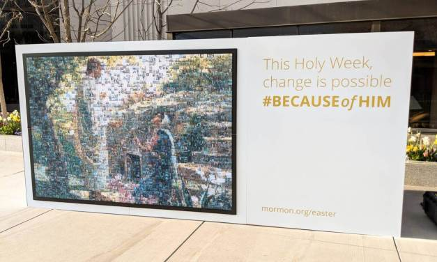 Mormon.org's #BECAUSEofHIM mosaic on Temple Square at #LDSConf a big hit!