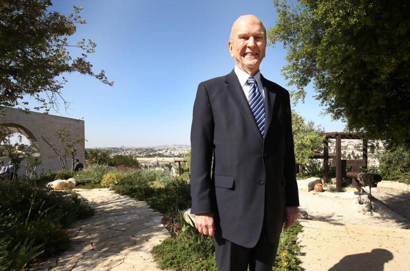 President russell m nelson at the byu jerusalem center in