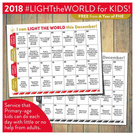 A Year of FHE #LightTheWorld 2018 calendar download