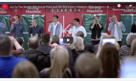 "BYU Vocal Point and the One Voice Children's Choir surprises guests at the opening of the Orem, UT Giving Machines with an a cappella performance of ""Joy to the World"""