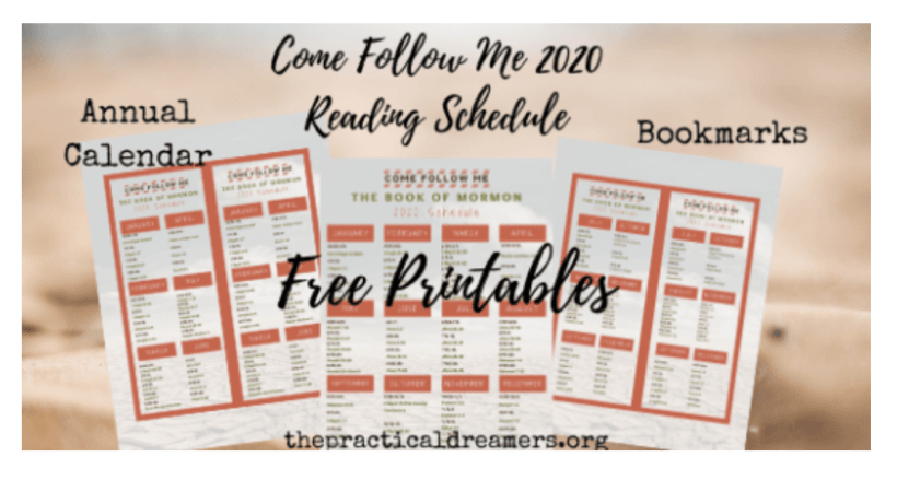 Book of Mormon Reading Schedule for Come, Follow Me 2020 LDS Mormon Sunday School Study Primary