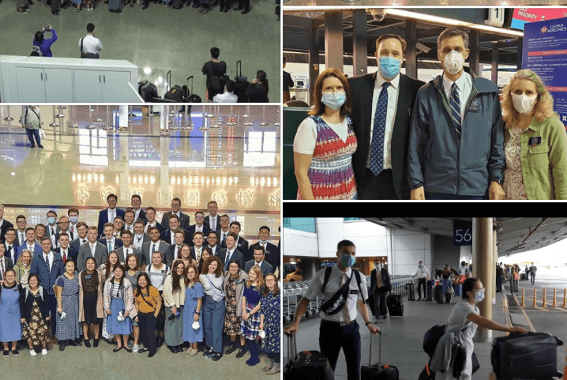 All foreign missionaries departed from Taiwan to their homeland today LDS Mormon Taipei