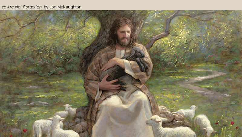 """""""Have Ye Experienced This Mighty Change in Your Hearts?"""" LDS Mormon Jesus black lamb holding mcnaughton"""