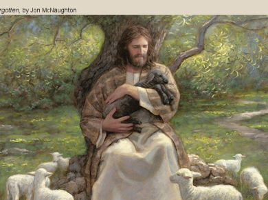 """Have Ye Experienced This Mighty Change in Your Hearts?"" LDS Mormon Jesus black lamb holding mcnaughton"