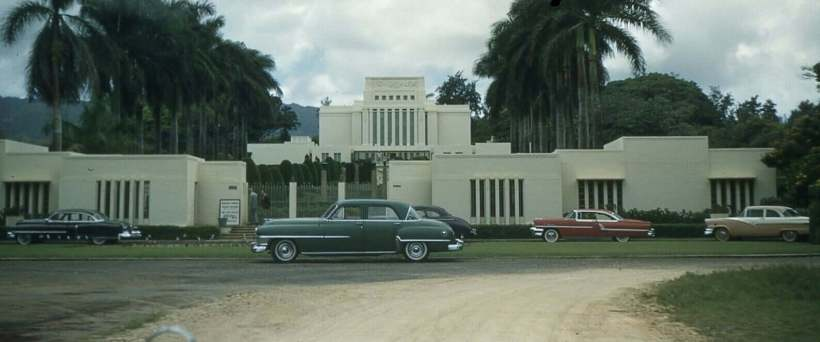IMAGE: Laie, Oahu (Hawaii) temple from 1956. An exquisite and lively photograph from John Hajicek