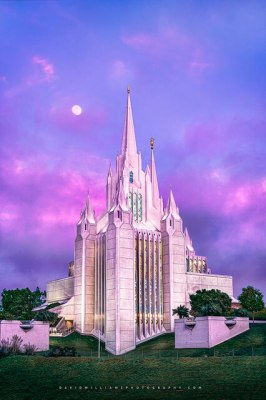 Pastel skies at the san diego latter day saint temple, san diego, california