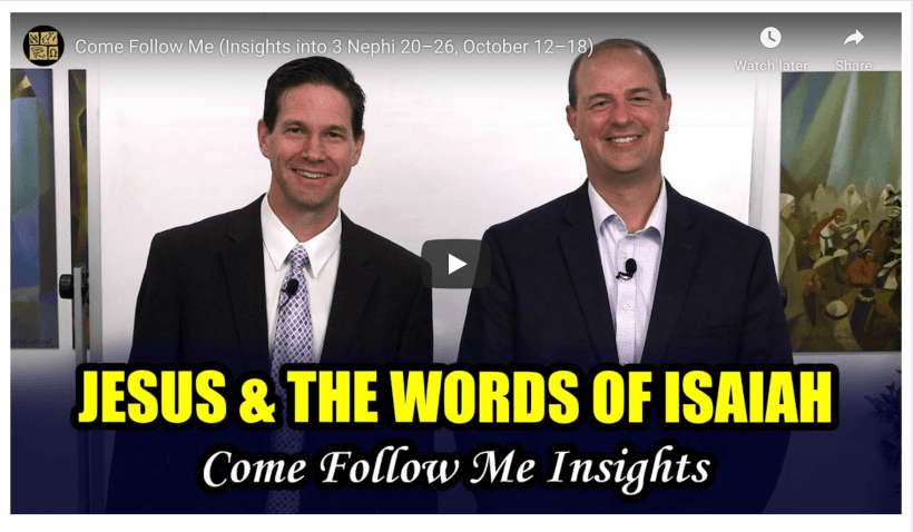 """VIDEO: BOOK OF MORMON CENTRAL COME FOLLOW ME 3 NEPHI 20-26 #COMEFOLLOWME WITH TAYLOR AND TYLER (October 12–18) """"Ye Are the Children of the Covenant"""""""