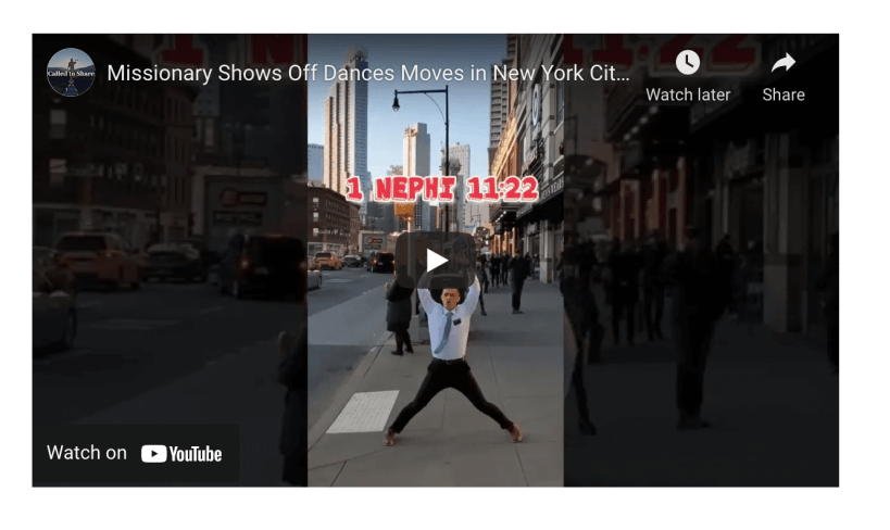 VIDEO: Missionary Shows Off FreeStyle Dance Moves in New York City Streets to Share the Message of Book of Mormon | Called To Share