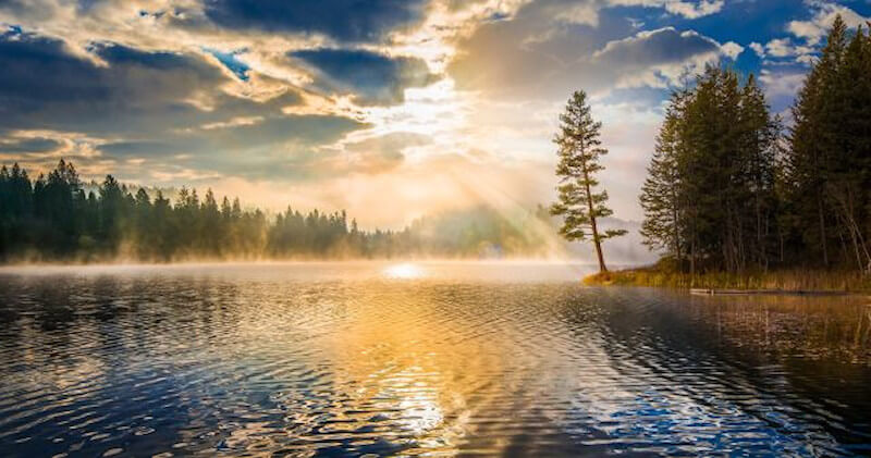 """Dc20 pine tree lake clouds morning VIDEO: Come, Follow Me with Mormon News Report   Doctrine and Covenants Lesson 20: May 10–16 """"That Which Is of God Is Light"""" Doctrine and Covenants 49–50"""