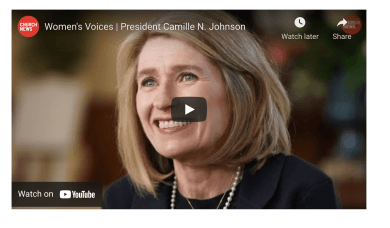 """In the few short months President Camille N. Johnson has served as Primary general president, she has been invited to participate in some of the Church's executive councils and share her voice and perspective. President Johnson — who was interviewed as part of the Church News Inside Church Headquarters series — is featured in a new Church News video titled """"Women's Voices."""" As President Johnson attended a meeting on her first day in her new calling, she expected to sit back and observe. Instead, she was asked, """"Well, Sister Johnson, what do you think?"""" """"It was sincere interest in what I thought about a particular point; whereas in my previous life, I had to work harder to have my voice heard sometimes,"""" President Johnson said of her experience in the workplace. """"And it's a privilege and a blessing to be able to participate in this great work at this time with a mighty prophet leading our Church."""""""
