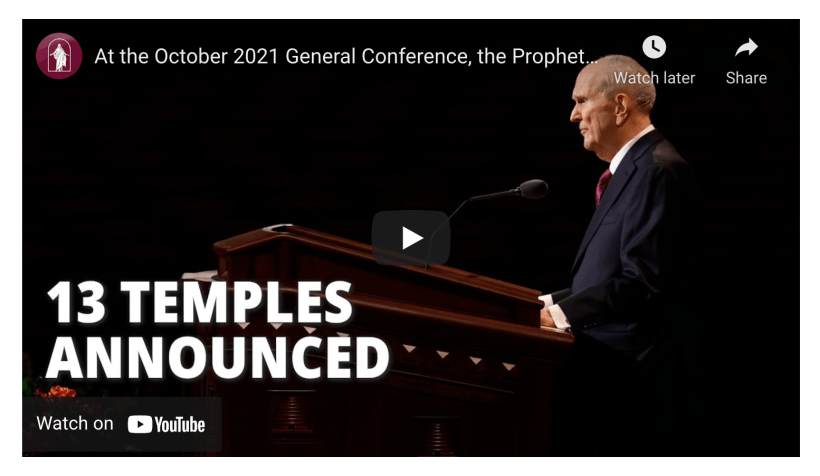 13 new temples announced President Nelson October 2021