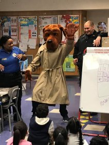 McGruff the Crime Dog Waves at P.S. 100 Students