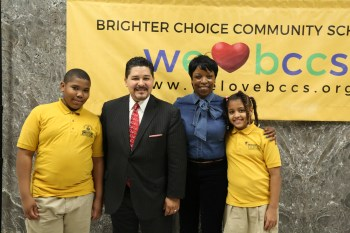 Chancellor Carranza Stands with Principal McIntosh-Gordon and Two BCCS Students