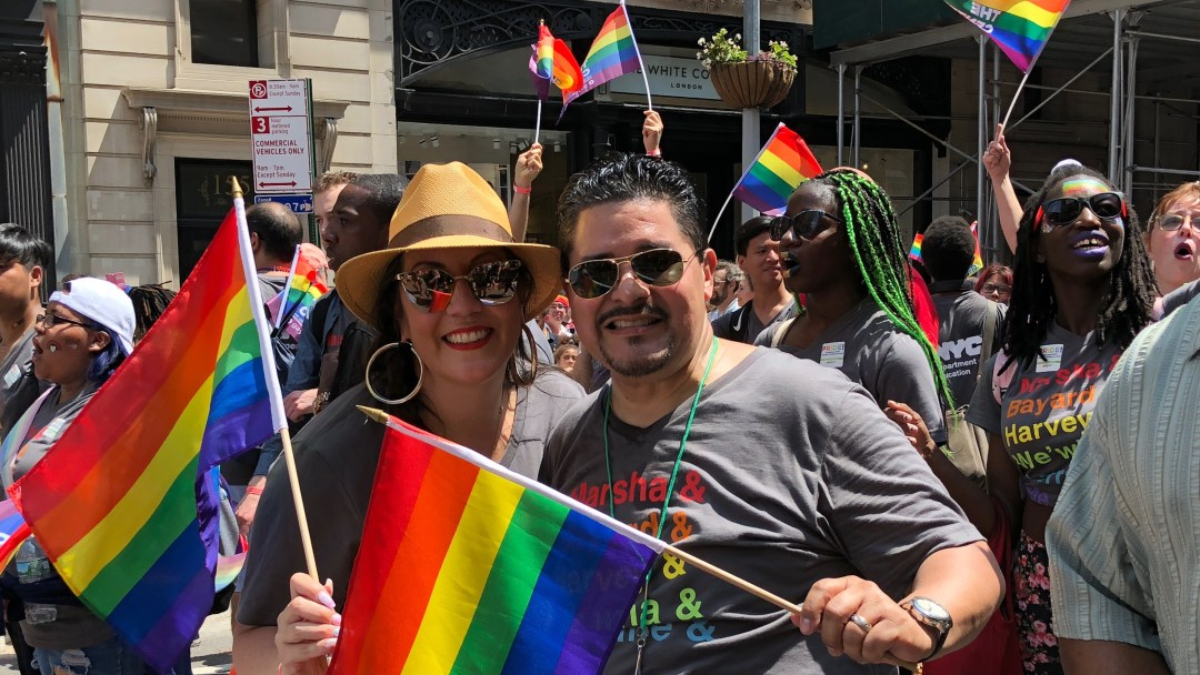 Chancellor Carranza and His Wife at the 2018 NYC Pride Parade