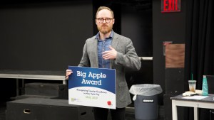 """Jamie Cacciola-Price gives a """"Thank You"""" speech after learning of his 2019 Big Apple Award selection"""