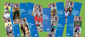 Mosaic of all 10 Versions of the NYC Public School Guidebook (2019–20)
