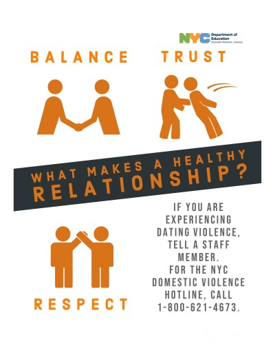 Flyer entitled 'What Makes a Healthy Relationship?'