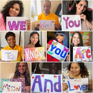 """Mosaic of teachers holding up signs that say, """"We Want You to Know You Are Missed and Loved"""""""