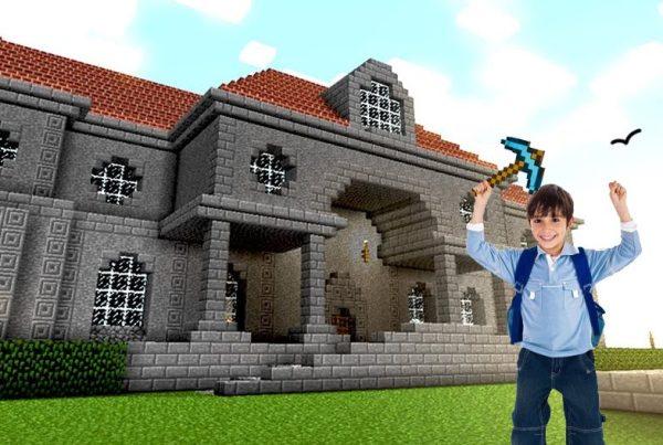 Kid standing inside a Minecraft world