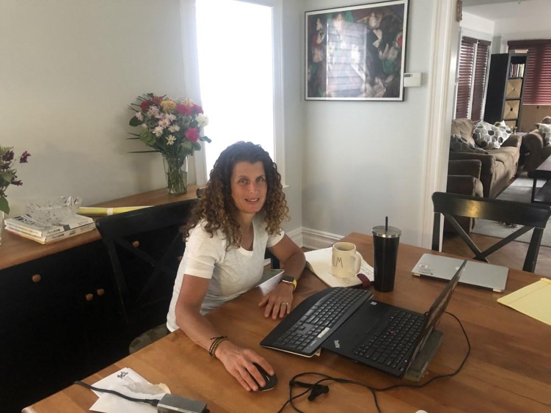 Principal Cohen at her computer