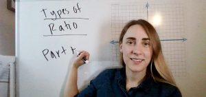 Teacher explaining types of ratios for an online geometry class