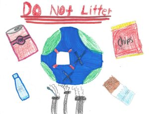 Drawing of the Earth with images of empty potato chip bags, soda cans, water bottles, and a coal factory