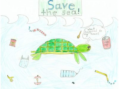 """Drawing of a sea turtle swimming through a trash-filled sea. The turtle is thinking, """"What happened to my home?"""""""