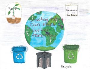 Colored pencil drawing of planet earth with the phrase, 'Starting today can make a better tomorrow' inside of it. Drawing of recycling bins line the bottom of the drawing.
