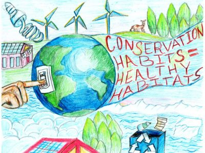 Drawing of planet earth flying across a landscape of windmills, clouds, and greenery, with the phrase, 'Conservation Habits = Healthy Habitats' in Its Wake