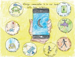 Drawing of a hand holding a smartphone under the caption, 'Energy conservation is in our hands'