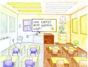 Drawing of a classroom, half of it with natural light, and the other half with fluorescent light