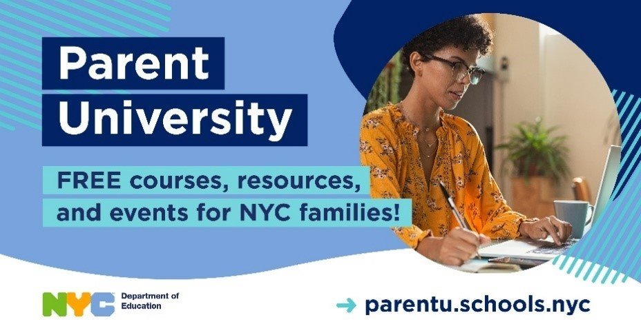 Banner for Parent University—Free Courses, Resources, and Events for NYC Families