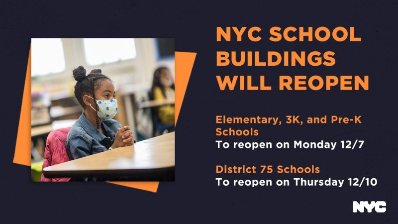 "Banner image that reads ""NYC School Buildings Will Reopen"""