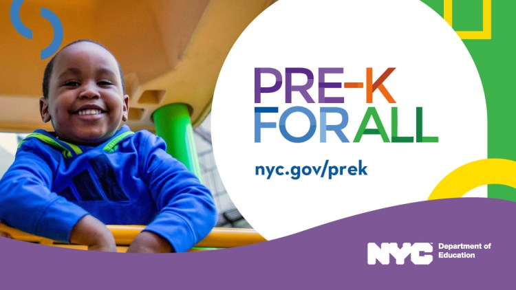 Banner of Pre-K for All featuring a smiling child looking down from a playground gym