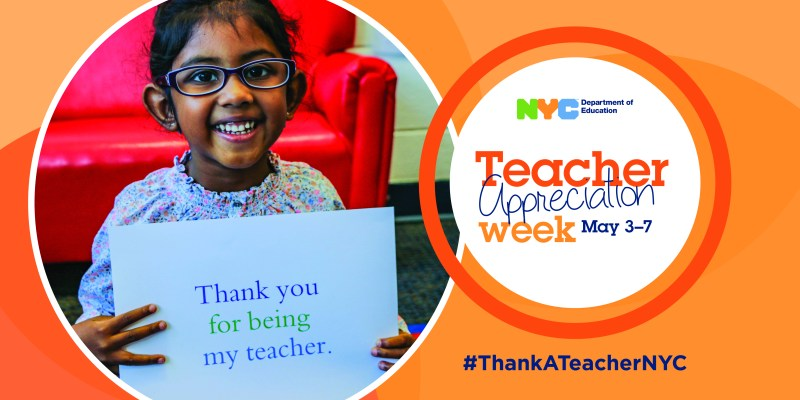 Banner for Teacher Appreciation Week, featuring student holding up a paper sign that reads, 'thank you for being my teacher.'